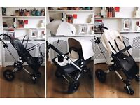 Bugaboo Cameleon in Black and Off-White - lots of accessories
