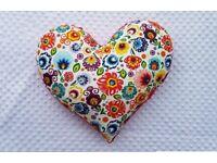 Beautifull folk pattern heart shape pillow with minky.