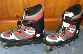 K2 Merlin II soft boot extendable inline skates (fit sizes 3 to 5).