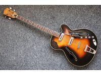 Framus 1960s Star Bass 5/160 - Rare sunburst quilted maple back