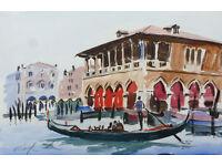 Marilyn Allis original water colour painting Venice fish market