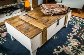 Rustic trunk chest coffee table toy box vintage shabby chic handmade wooden