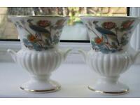 2 Small Wedgewood Kutani Crane Posy Vases