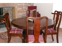 Dark wood veneer round table with pedestal, seats 6 [not 4 as shown] with 6 Chairs included