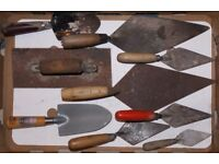 Trowels for plastering, bricklaying and gardening