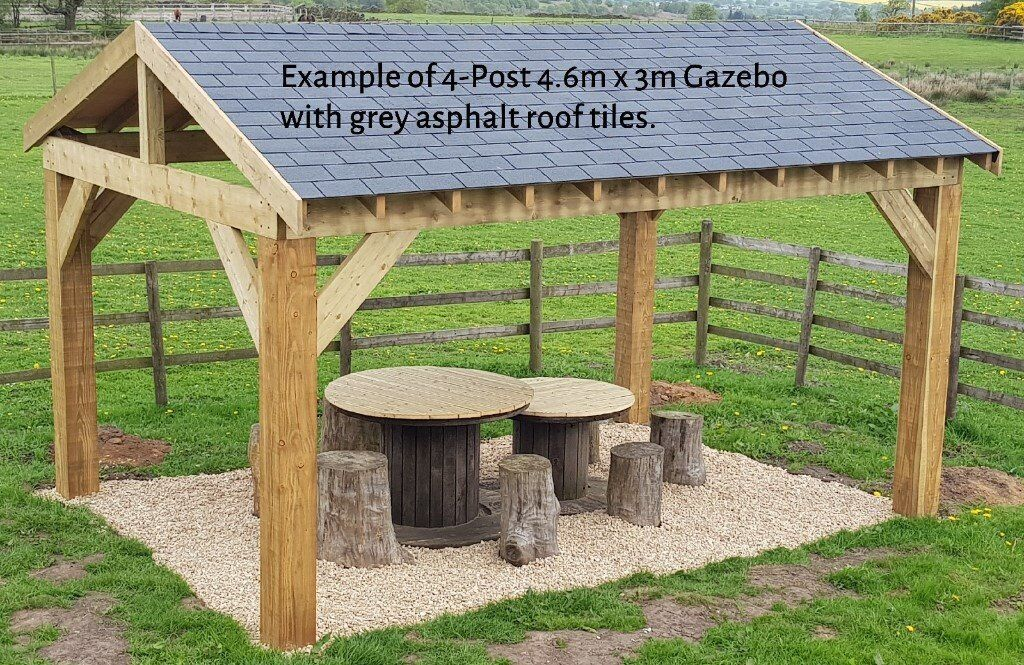 4-Post 3m x 3m Timber Garden Gazebo / Hot Tub Canopy Kit - various roof  options extra   in Chesterfield, Derbyshire   Gumtree