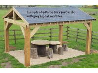 4-Post 3m x 3m Timber Garden Gazebo / Hot Tub Canopy Kit - various roof options extra