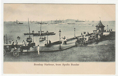 Bombay Harbor (Bombay Harbour Harbor from Apollo Bunder India 1910c postcard)