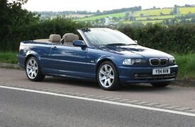 BMW E46 330Ci Convertible manual, Topaz Blue, cream Leather, many factory options inc SATNAV &Xenons