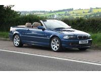 BMW E46 330Ci Convertible manual, Topaz Blue, cream Leather, many factory options inc SATNAV &Xenons