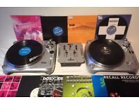 Homemix TT-500M Belt Driven Vinyl Turntables with Mixer and 10 Vinyls