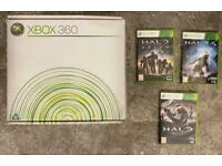 Xbox 360 boxed console and halo games