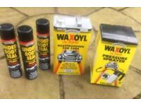New Waxoyl Lot - 5 Litre Can, 3 x 600ml Under Body Seal Cans & Pressure Sprayer