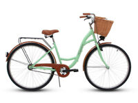 Ladies bike with brown wricker basket, pistachio
