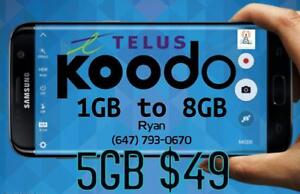 Koodo LTE 5GB $49/month and 6GB $56/mo 1/2/4/5/6/8/10 GB UNLIMITED CANADA MINS Plan - KoodoTel Ryan