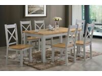 Tables and chairs. Grey painted an oak
