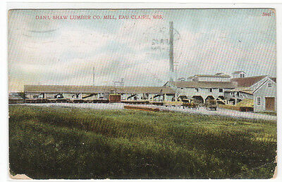 Daniel Shaw Lumber Co Mill Eau Claire Wisconsin 1912 postcard