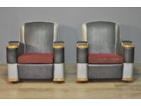Attractive Pair Of 2 Vintage Art Deco Fireside Armchairs Chairs For Reupholstery