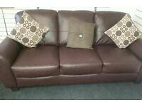 Stunning 1 week old brown leather 3 seater sofa really nice quality SEE BELOW