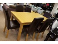 Charlton Extending Oak Dining Table and 6 Naples Chairs Set