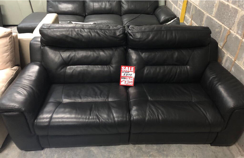 Black Leather Dfs 3 Seater Electric Recliner Sofa