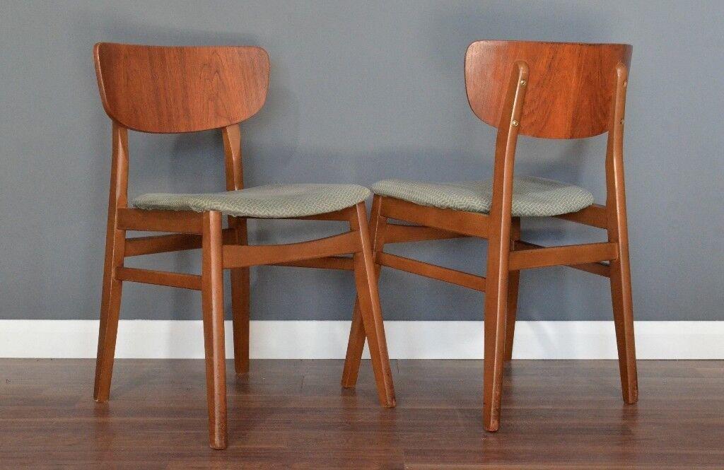 Set Of 2 Vintage Midcentury Teak Dining Chairs Delivery Modern Danish Retro