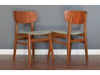 Set of 2 Vintage Midcentury Teak dining chairs. Delivery. Modern / Danish / Retro style.