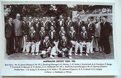 AUSTRALIA TO ENGLAND 1956 PHOTOGRAPHIC CRICKET POSTCARD