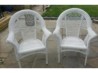 2 White Wicker Conservatory Chairs