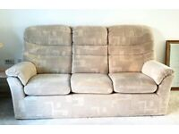G Plan 3 seater sofa, Armchair and large storage footstool