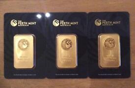 3 x Perth mint Gold bars