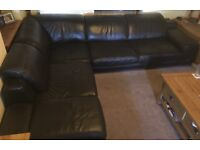 Brown Leather corner sofa with chez Lounge
