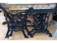 Garden bench & table ends - wrought iron - blasted & painted