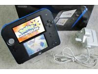 Nintendo 2DS BLUE/BLACK with 120 Games (37 Pokemon) + Charger