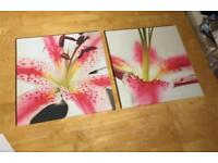 Pink lilies canvas x2