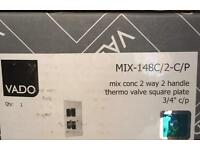 Vado mix Concealed 2 Way 2 Handle Thermo Valve Square Plate 3/4 c/p