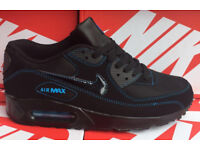 Brand New Nike Air Max 90 black with blue stitching UK sizes 8, 10 & 11