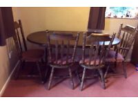 Extendable Dining Room Table with 4 chairs, dark wood