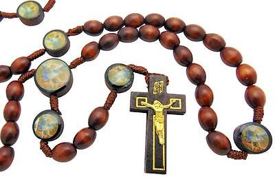 St Saint Michael Wood Bead with Cord Rosary Gift for Boys Communion 17