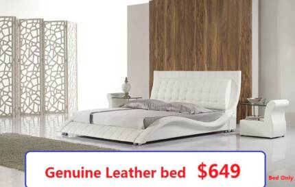Tino Queen Bed, Genuine Leather, Now only $649 Salisbury Brisbane South West Preview