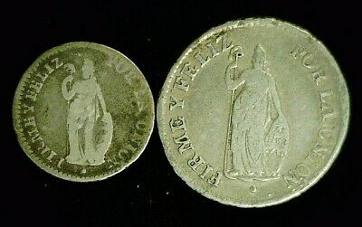 1828 PERU SILVER 1 REAL & 2 REAL (9250)