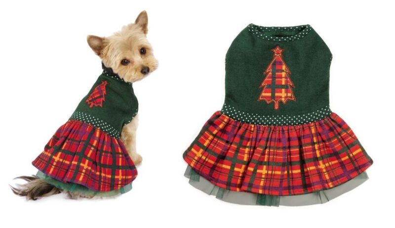 Holly Days Plaid Holiday Dog Dress Green Christmas Tree Polka Dots Misc Sizes