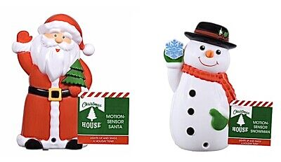 Halloween Motion Activated (NEW Motion Activated Light & Sound Santa & Snowman Set Christmas Holiday)
