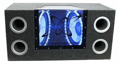 """New Pyramid BNPS102 10"""" 1000W Dual Car Audio Subs Box Subwoofers Bandpass w/Neon"""