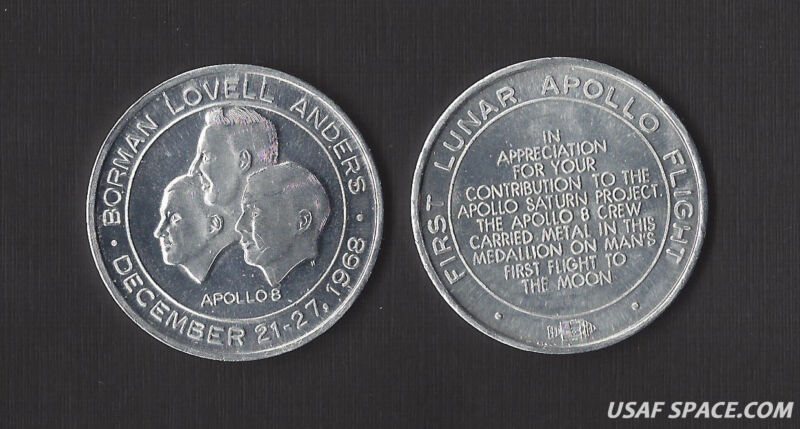 APOLLO 8 LOVELL BORMAN - VINTAGE ORIGINAL MFA NASA- FLOWN METAL COIN - MEDALLION
