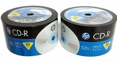100 HP Blank CD-R CDR Recordable Logo Branded 52X 700MB 80MIN Media Disc