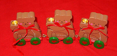 VINTAGE WOODEN CHRISTMAS BEAR TRAIN ~ CANDLE HOLDERS - VERY NICE !