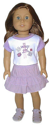 Varsity Girl 2pc Skirt Set Fits 18 inch American Girl Dolls
