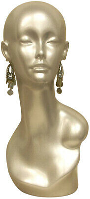 Adult Female Glossy Silverfiberglass Mannequin Head Display