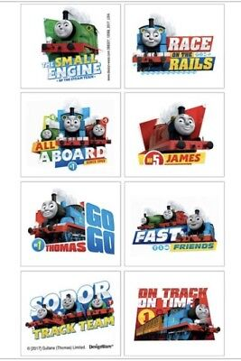 8 squares Thomas the tank engine temporary tattoos party favors
